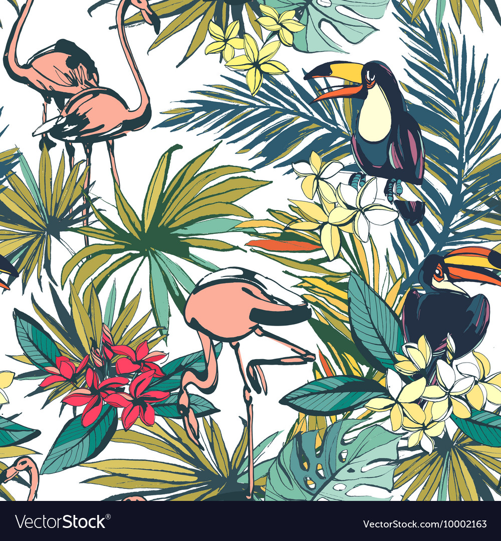 Tropical floral summer seamless pattern with palm
