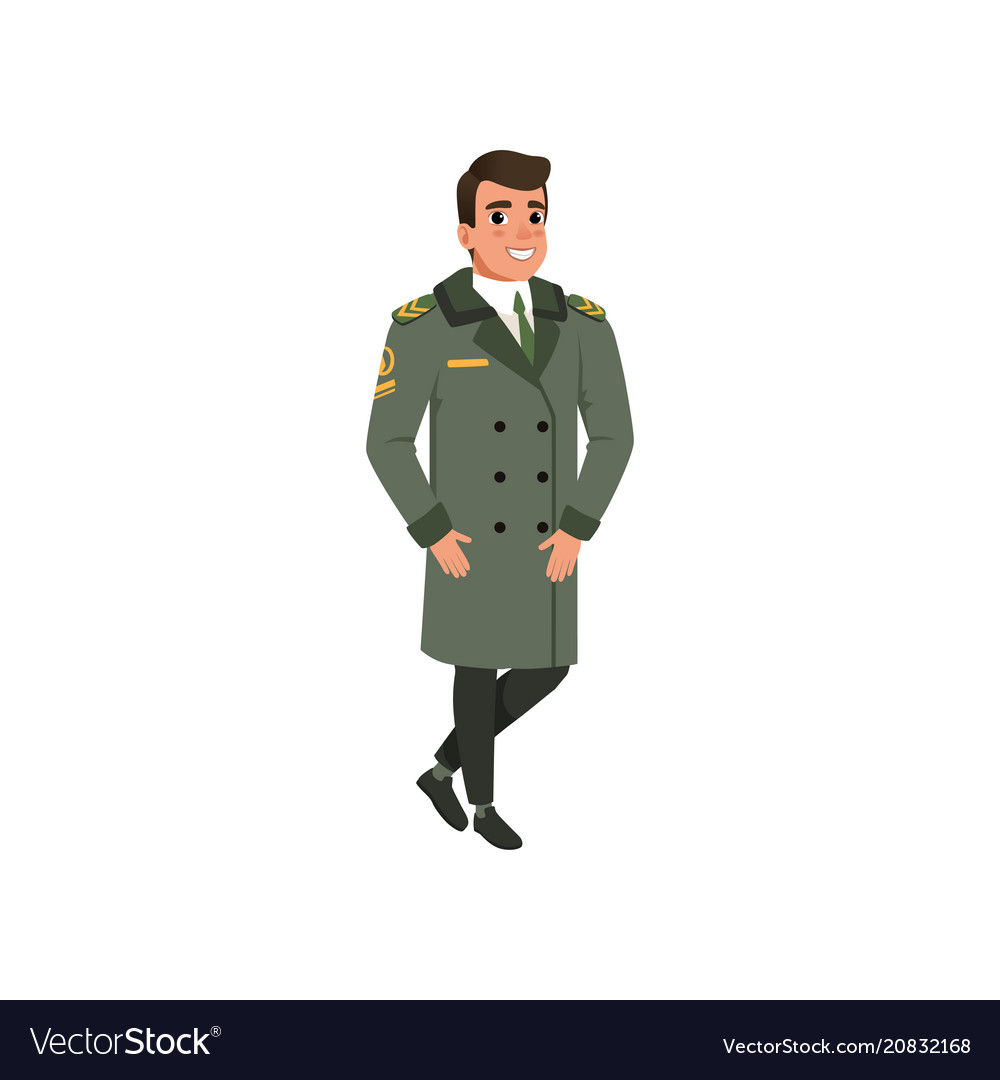 Aviation officer in green coat with rank stripes