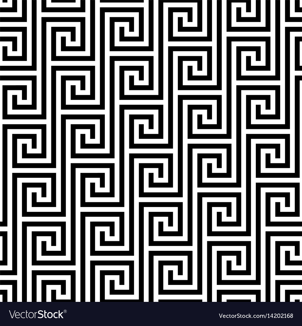 Black and white classic meander seamless pattern