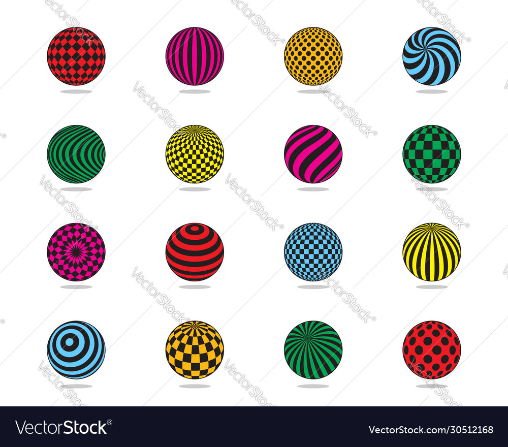 Color balls set striped ball check dots pattern