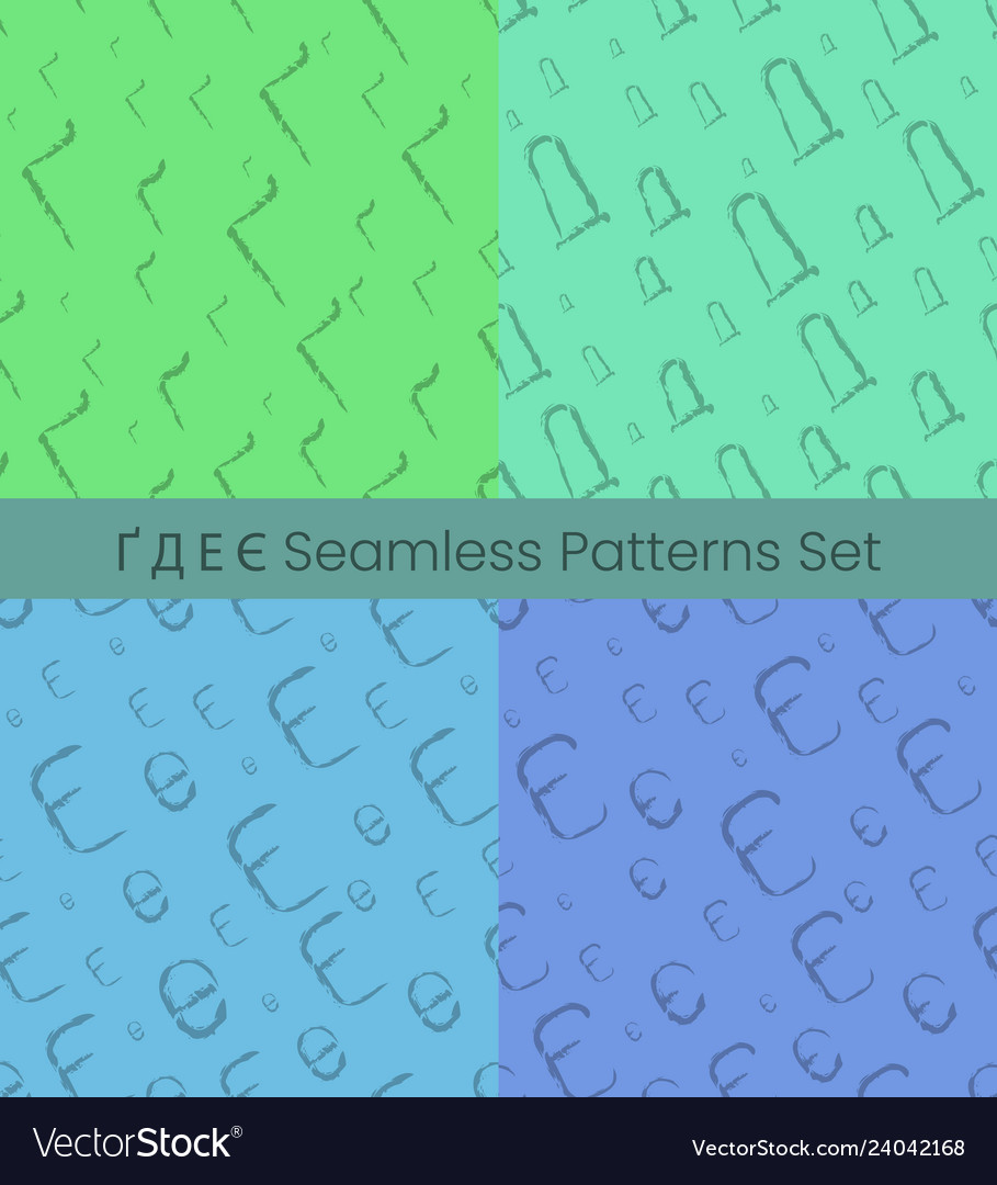 Cyrillic letter seamless patterns set alphabet