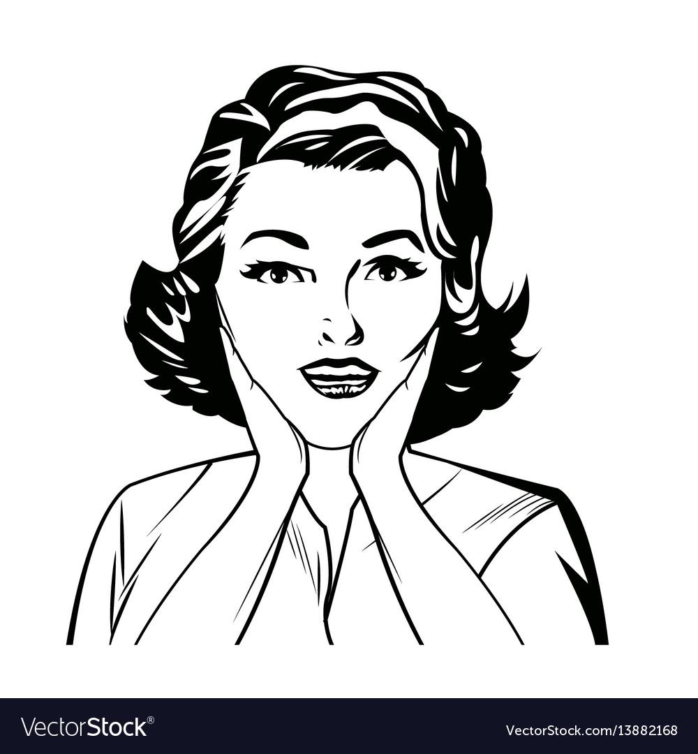 Portrait surprise woman comic image