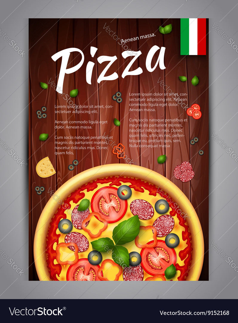 Realistic vertical pizza flyer on wood