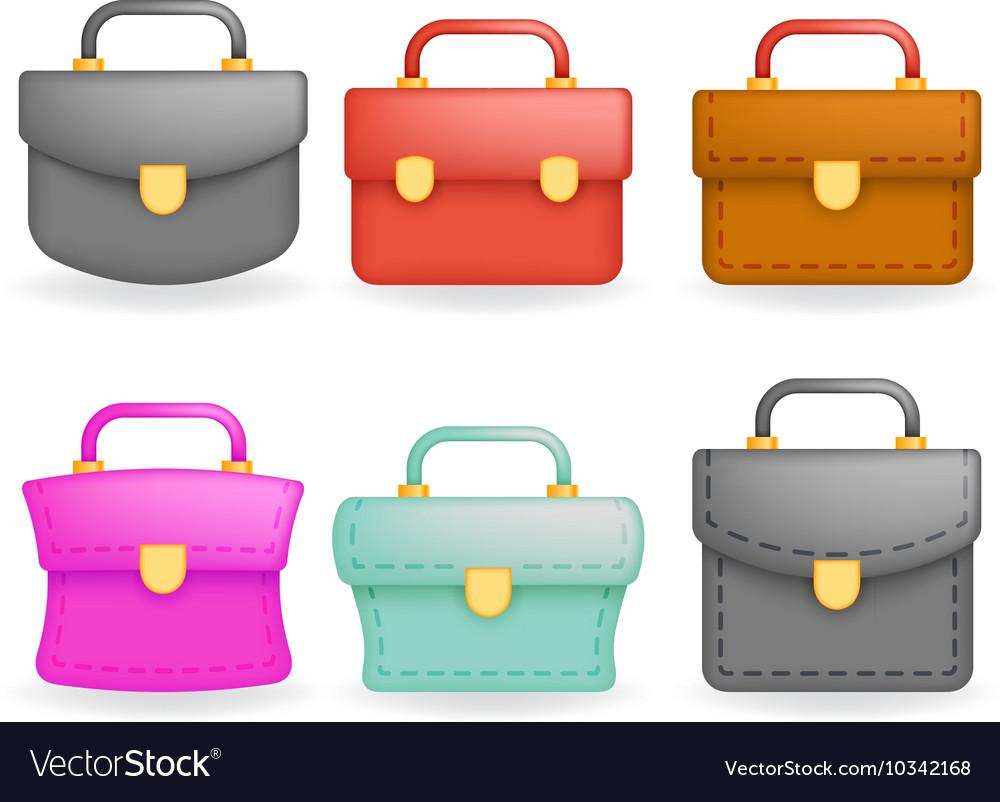 Schoolbag Realistic icons set education symbol