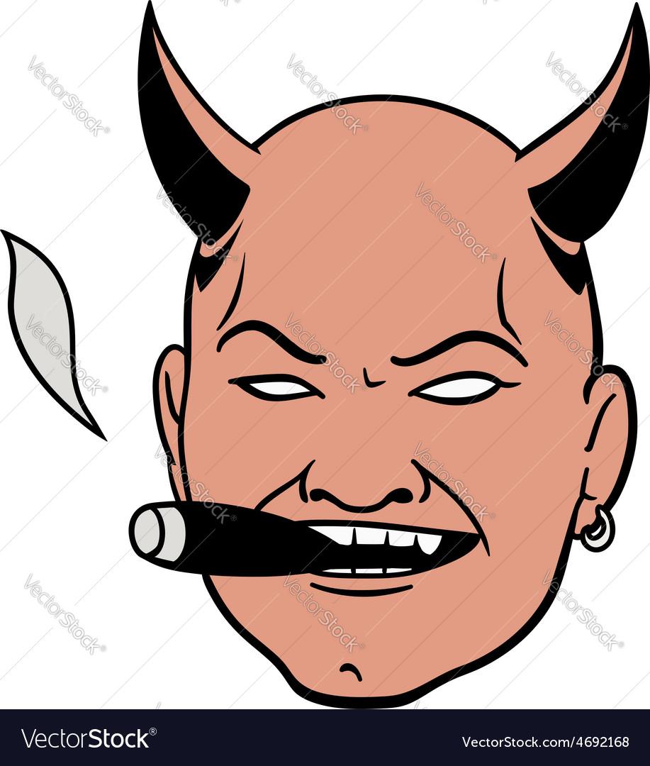 Smoking devil head vector image