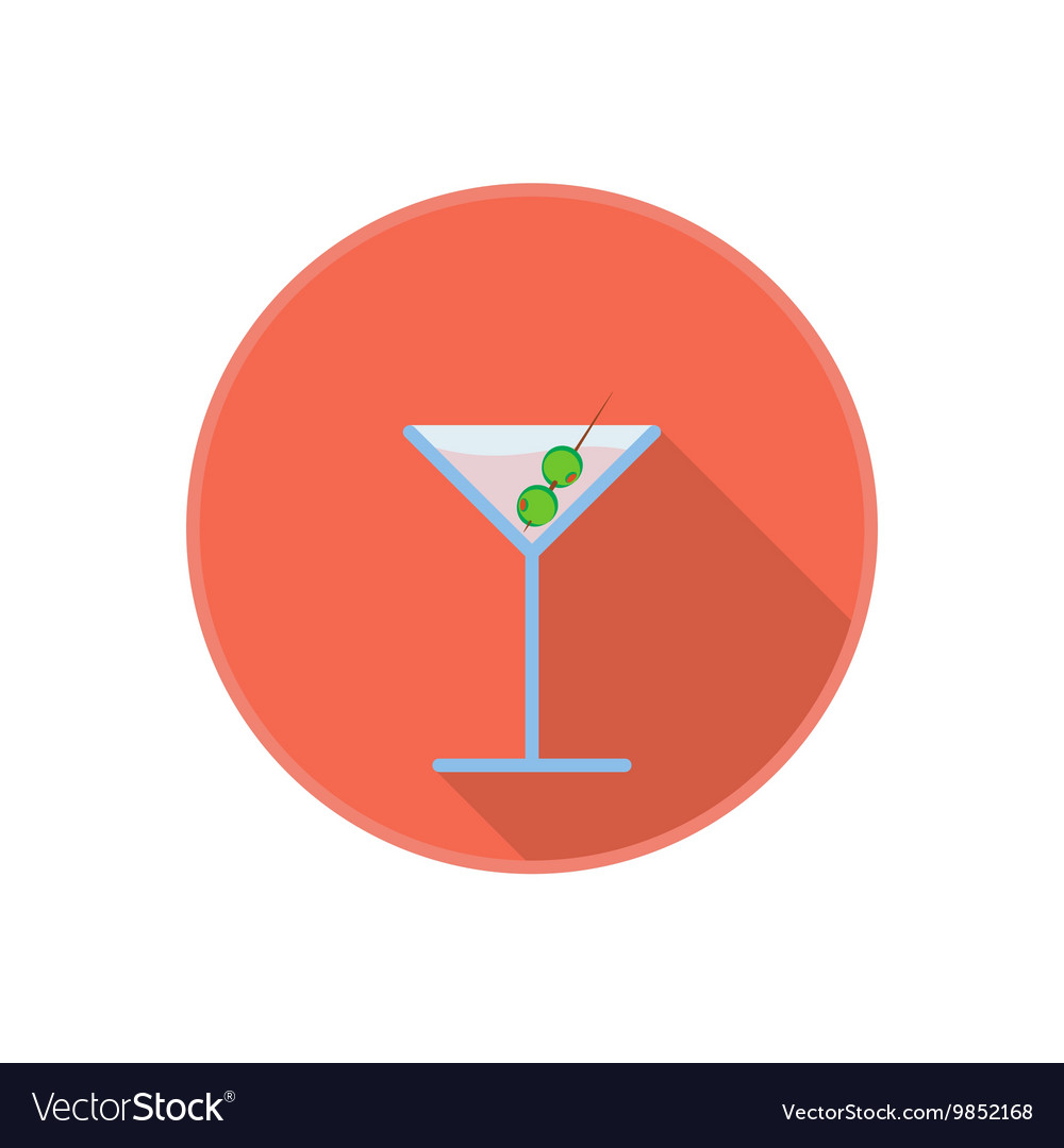 Symbol of pink martini drink with olives