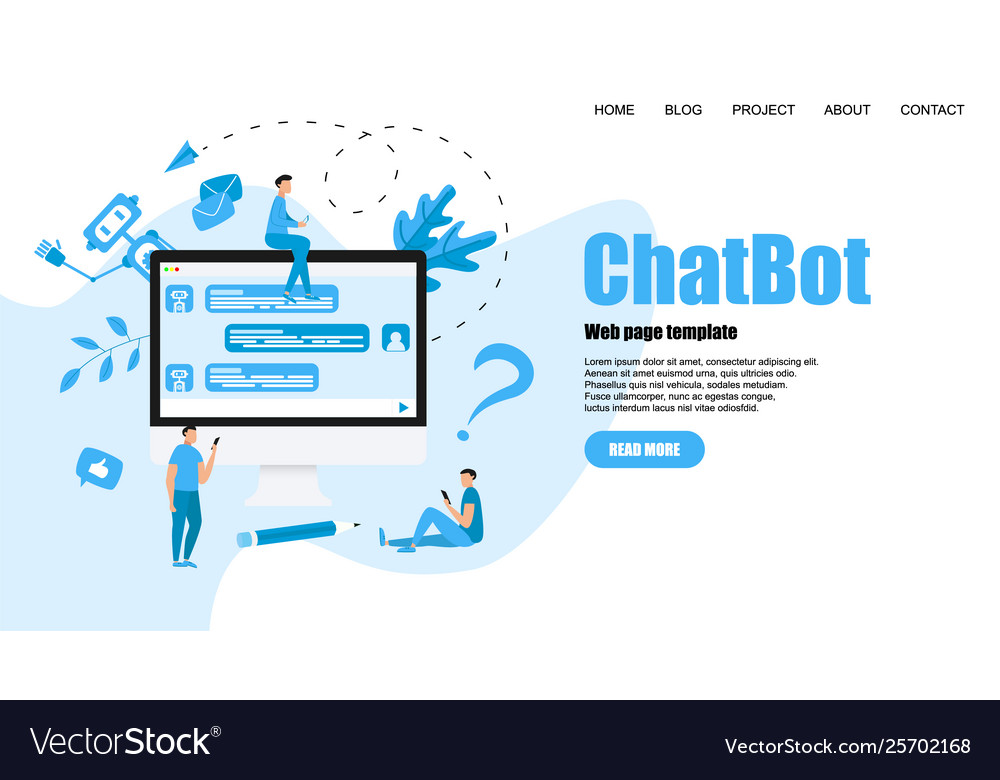 Webpage template chatbot business concept