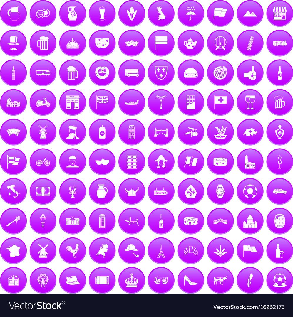 100 europe countries icons set purple