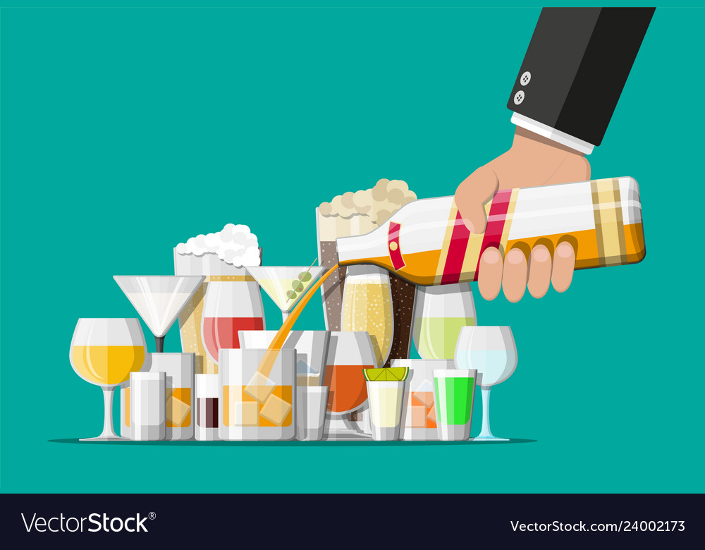 Alcohol drinks collection in glasses