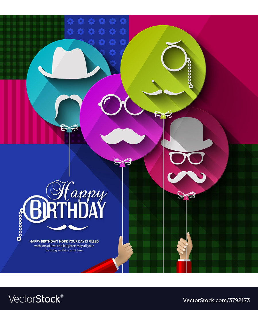Birthday card Colorful balloons in flat design