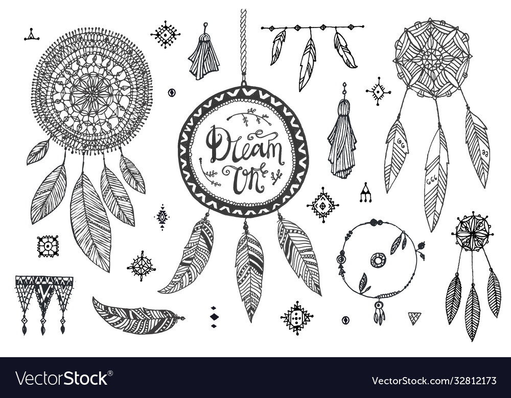 Boho decor set collection hand drawn