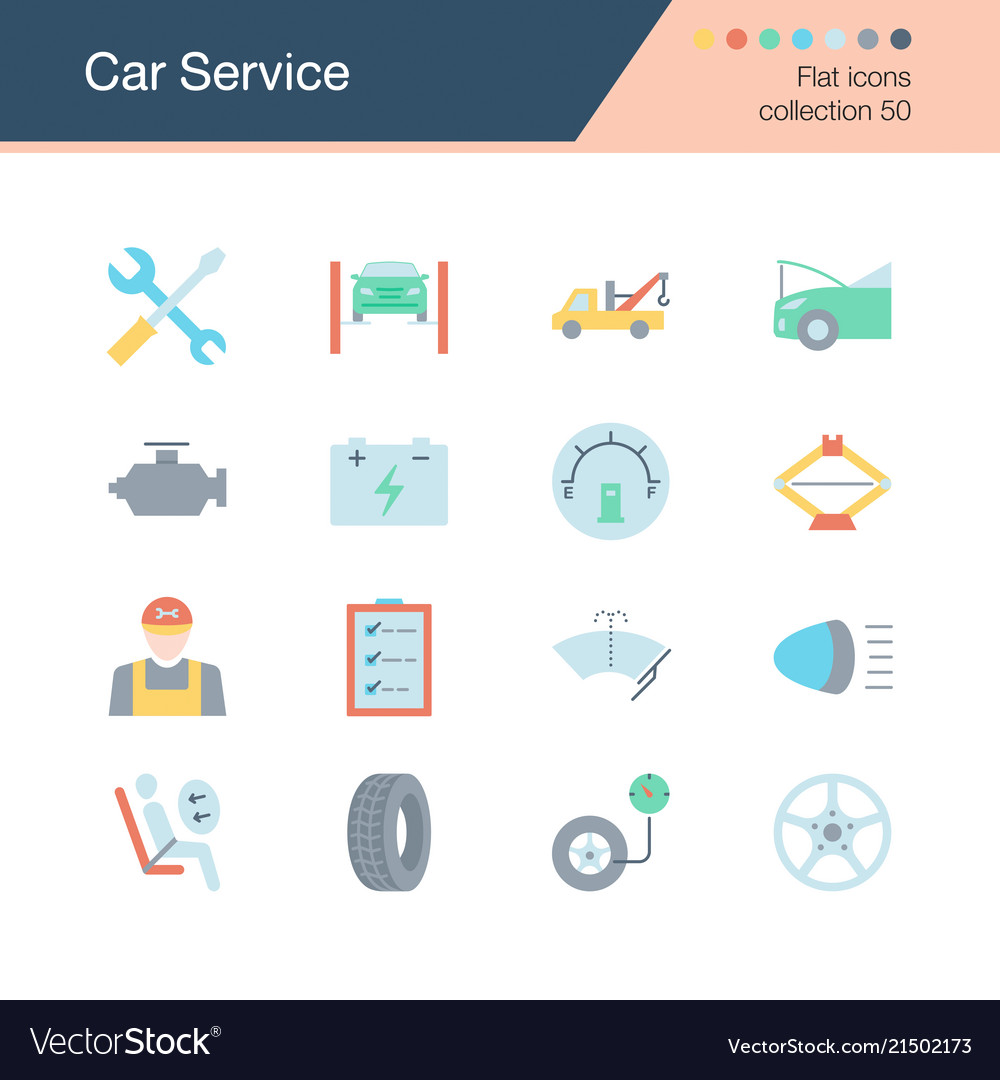 Car service icons flat design collection 50 for