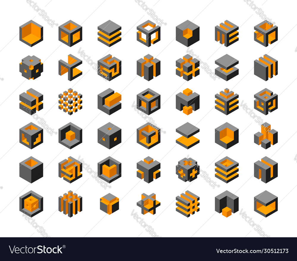 Cube logo design cubes 3d set template graphic
