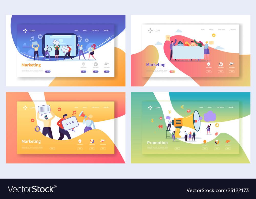 Digital advertising marketing landing page set