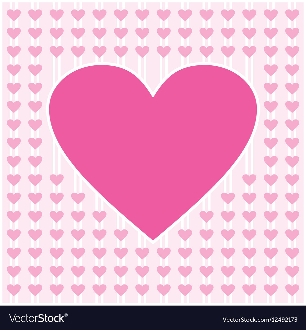 Frame border shaped from pink heart on light pink vector image
