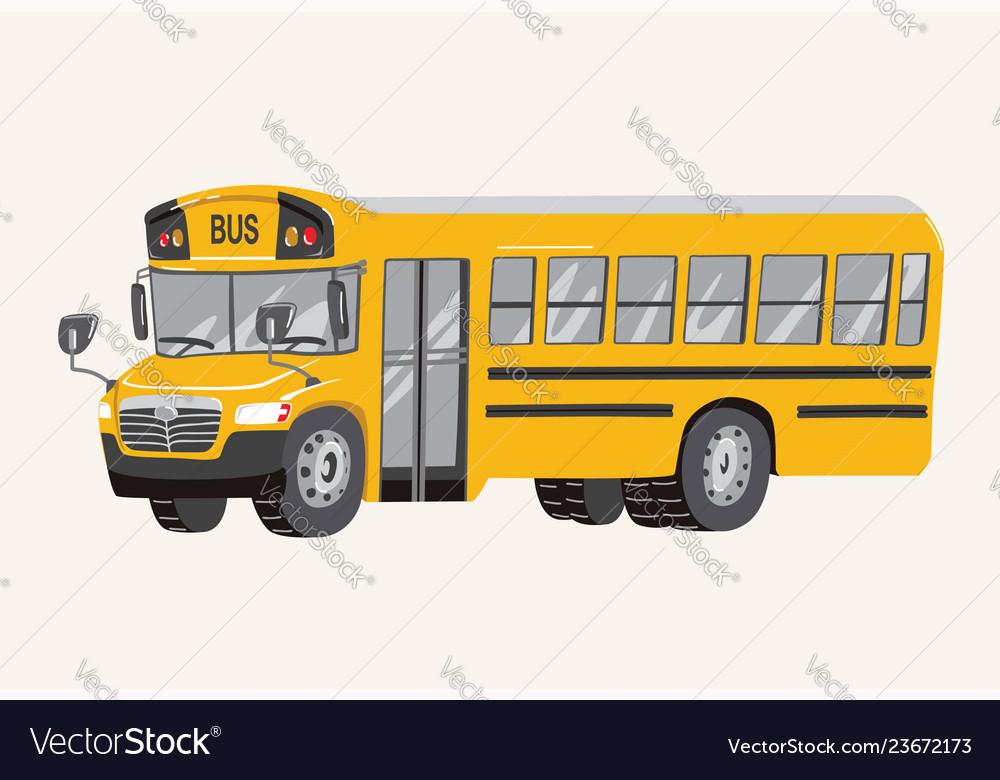 Funny Cute Hand Drawn Cartoon School Bus Vector Image