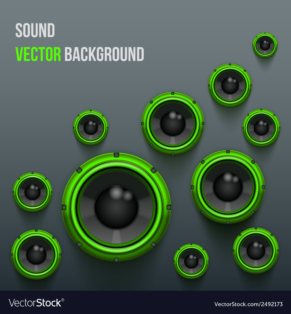 Green Sound Load Speakers On Dark Background Vector Image Audio