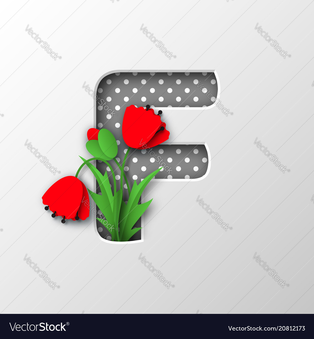Letter F With Paper Cut Poppy Flowers Royalty Free Vector