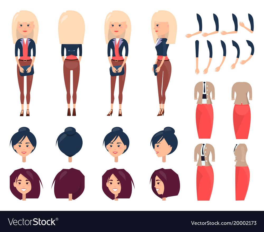Modern girl character constructor with spare heads