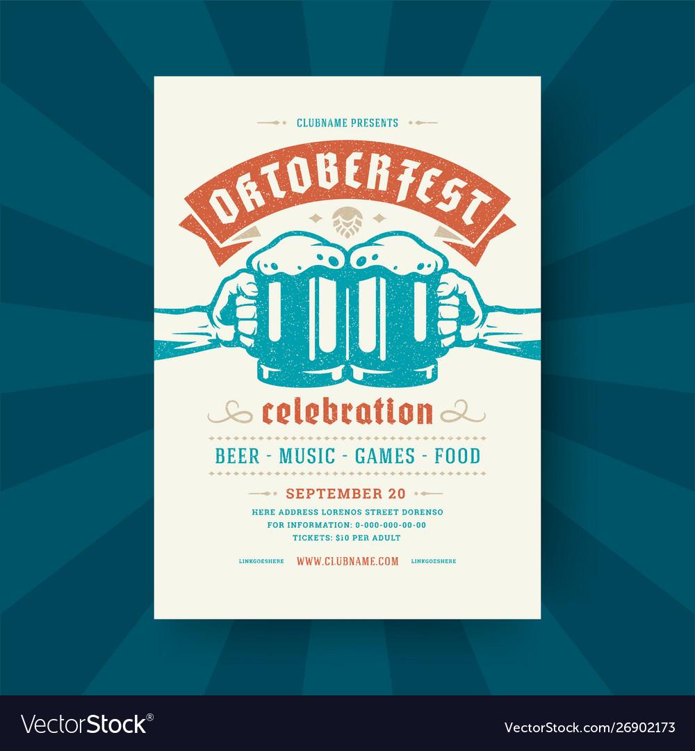 Oktoberfest party flyer vintage typography