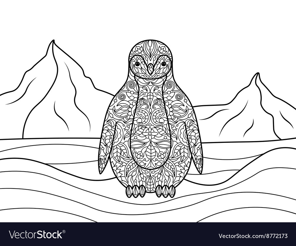 Penguin coloring book for adults Royalty Free Vector Image