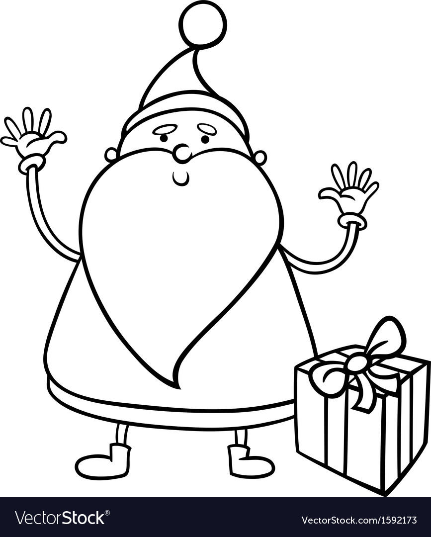 santa claus cartoon coloring page vector image