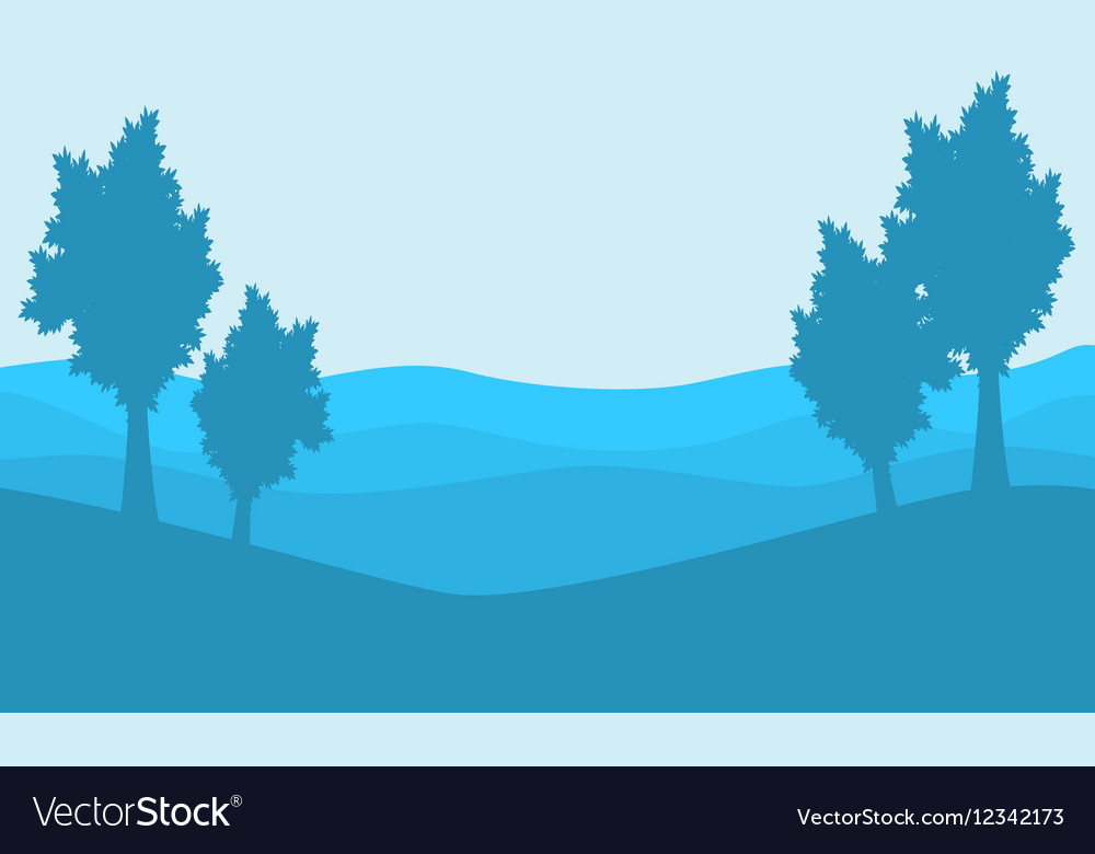 Silhouette Tree On Blue Backgrounds Landscape Vector Image