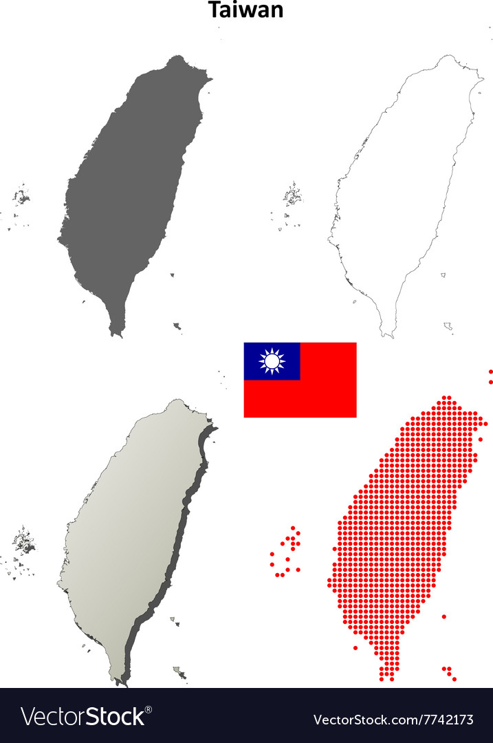 Taiwan outline map set vector image