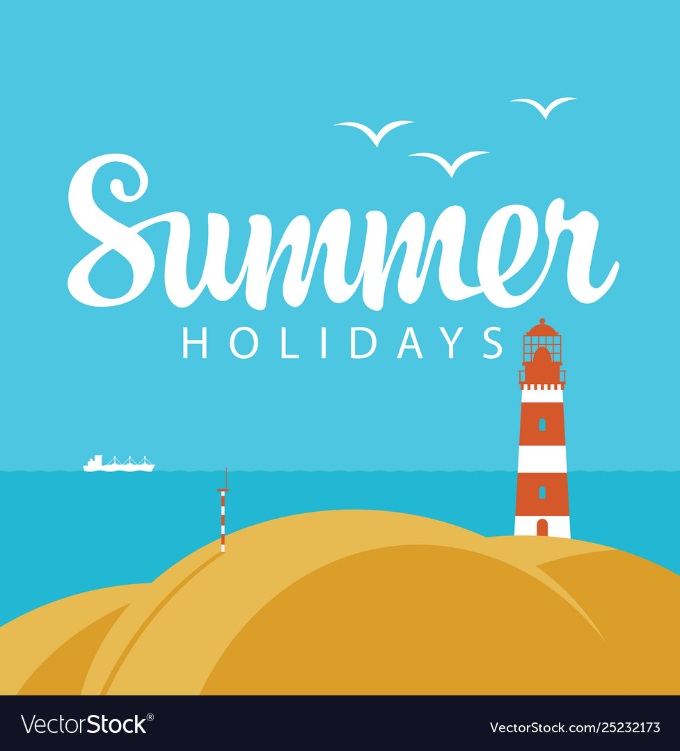 Travel summer banner with sea and lighthouse