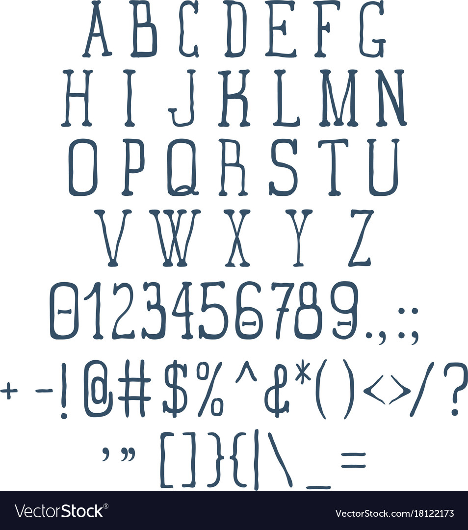 Vintage font set with numbers and signs vector image