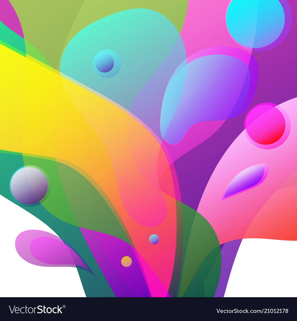 Abstract colorful fluid shapes vibrant splash on