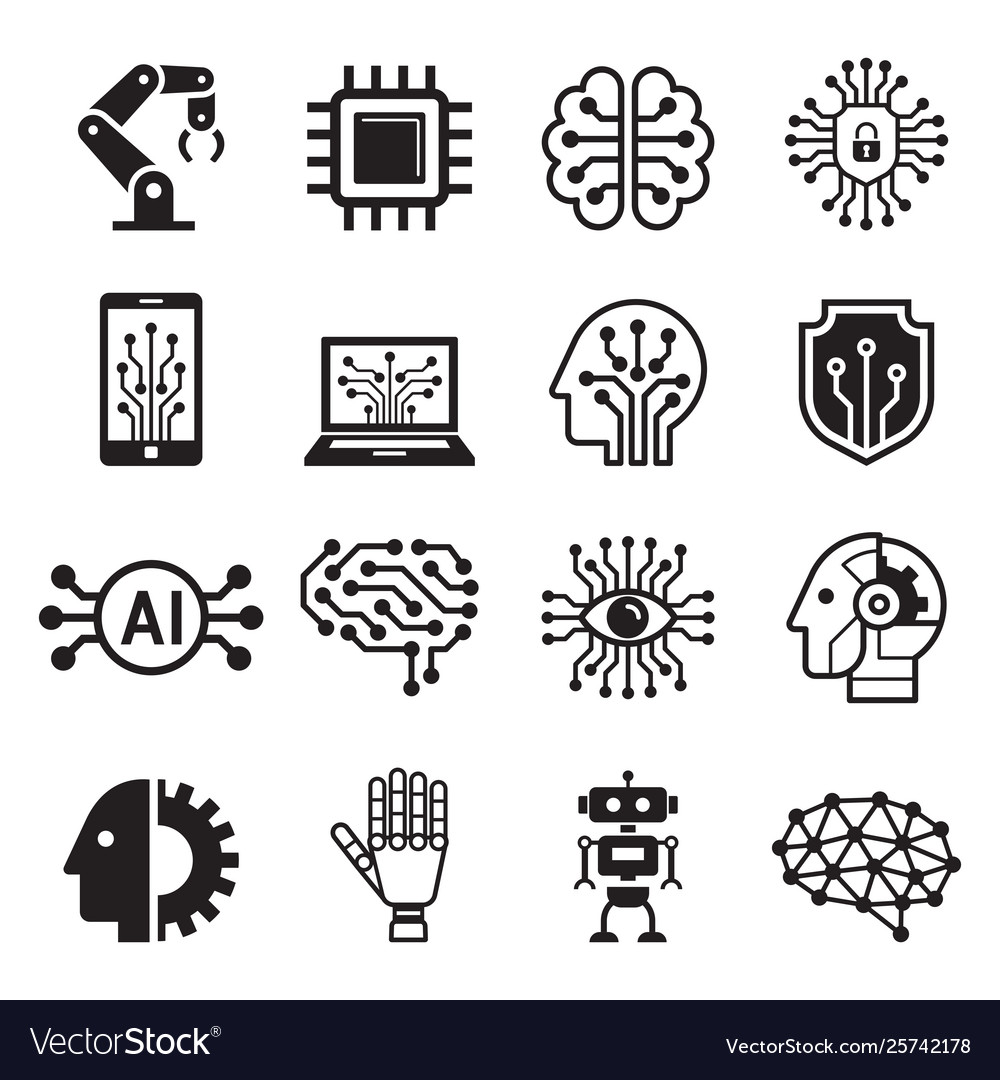 Ai robot artificial intelligence icons