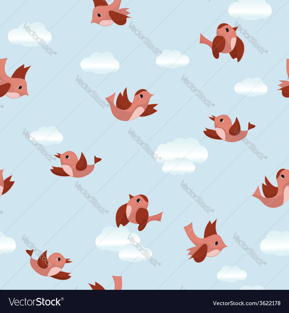 Blue seamless texture with birds