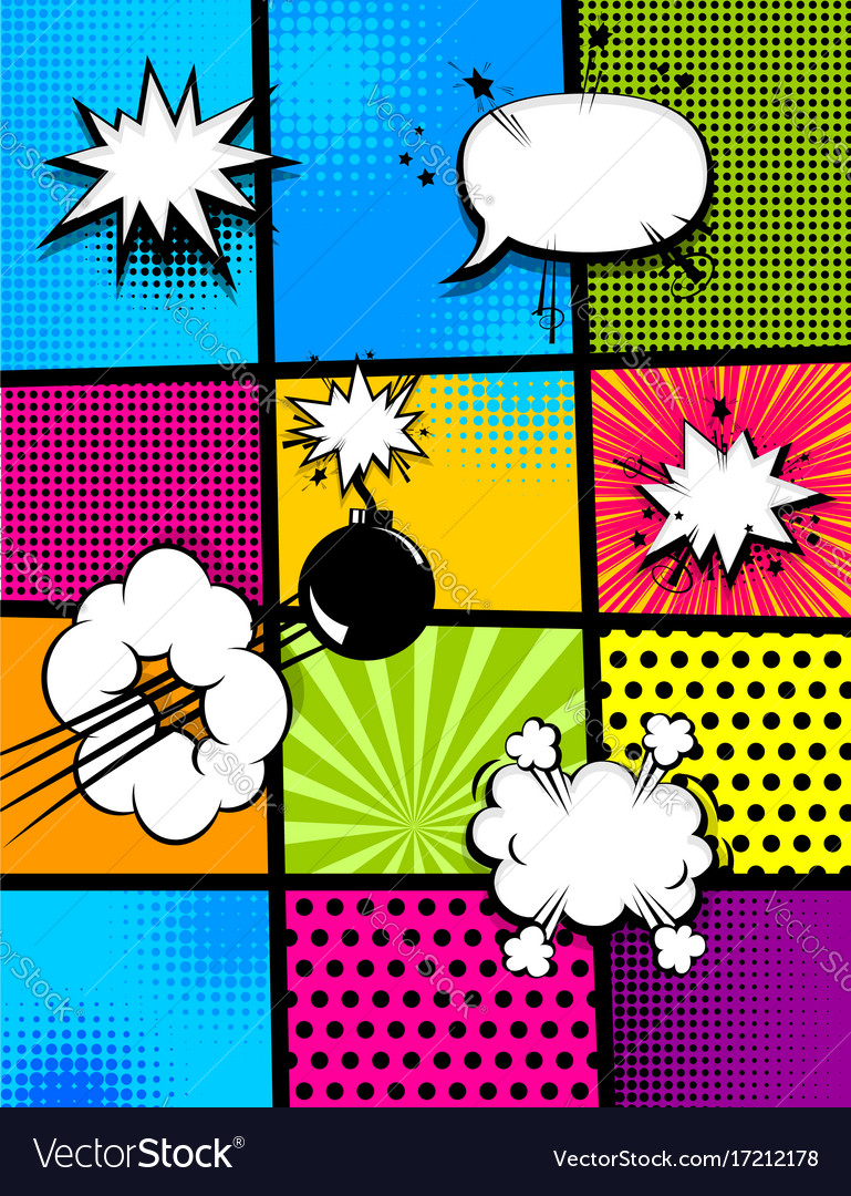 Comic book pop art vertical back vector image