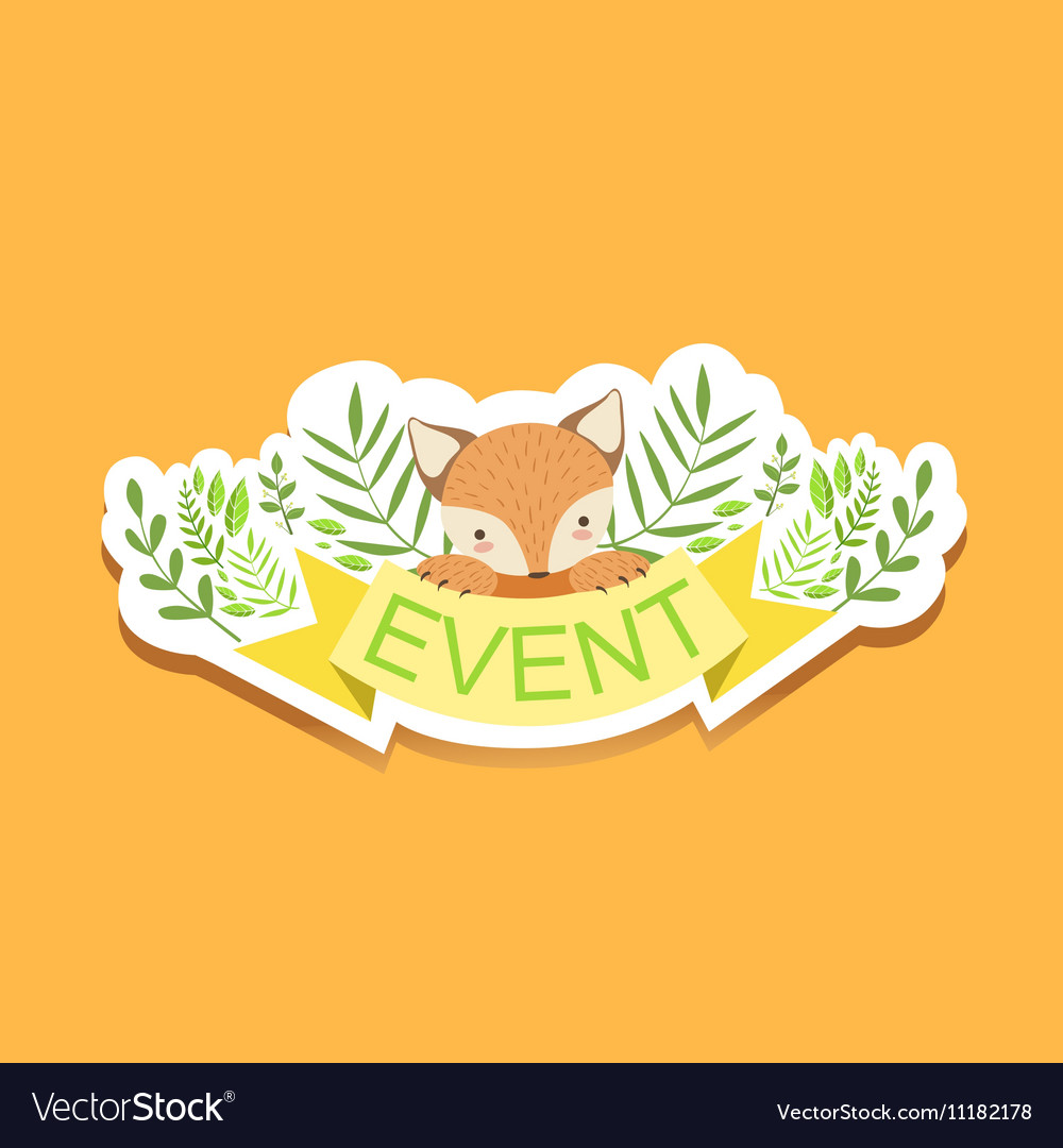 event template label cute sticker with fox and vector image
