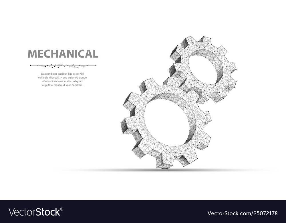 Gears closeup abstract wireframe two gear