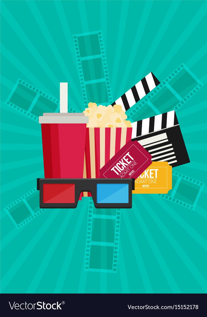 Movie poster template popcorn soda takeaway 3d