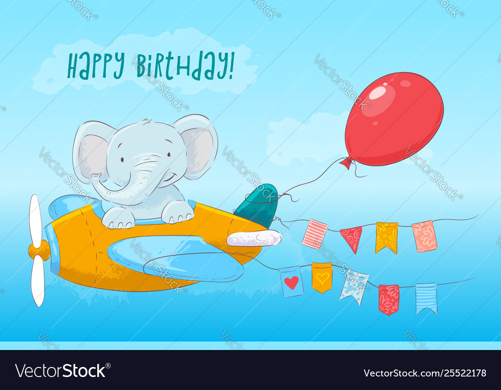 Postcard cute baelephant flying on an airplane