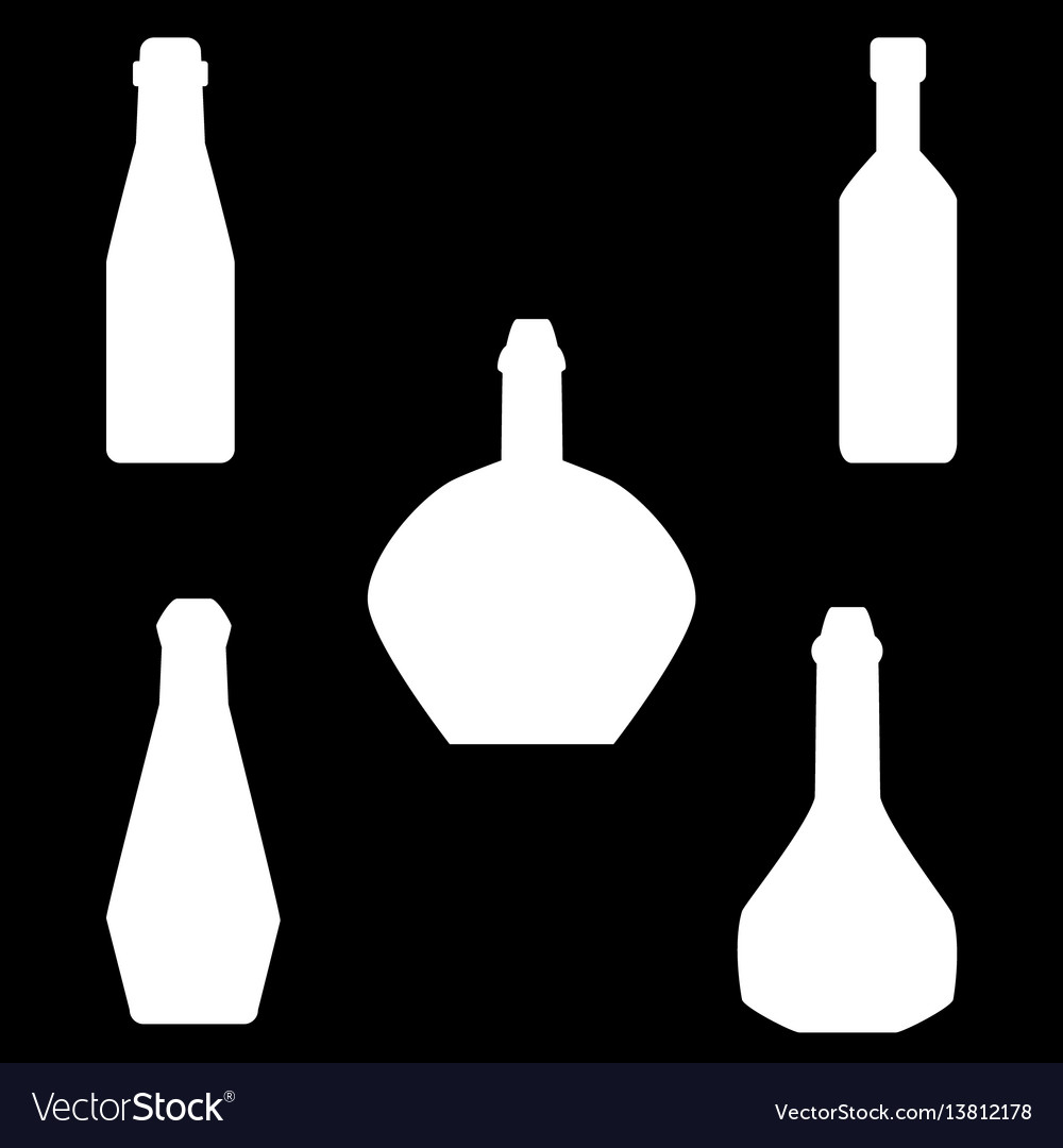 Set of different silhouettes bottles isolated on