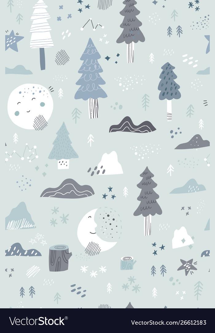 Christmas hand drawn seamless pattern