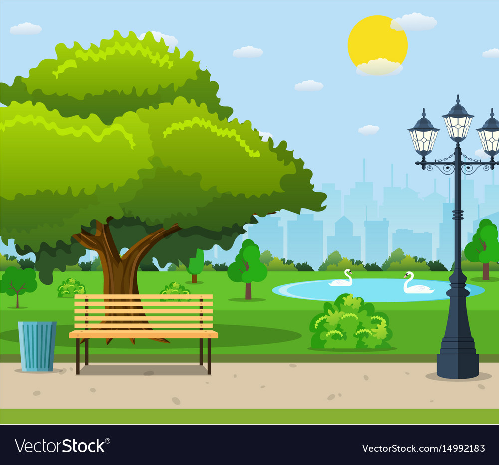 City Park Bench Under A Green Tree Vector Image