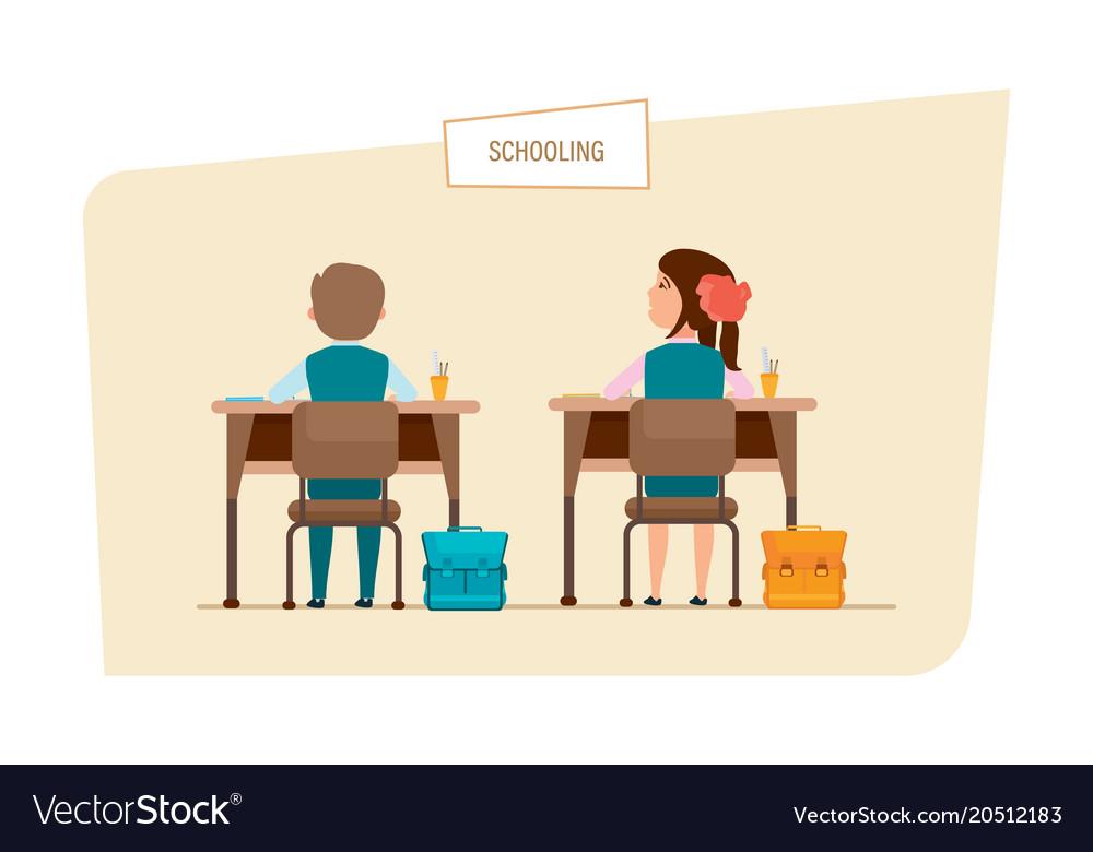 classmates sit next to each other behind desks vector image