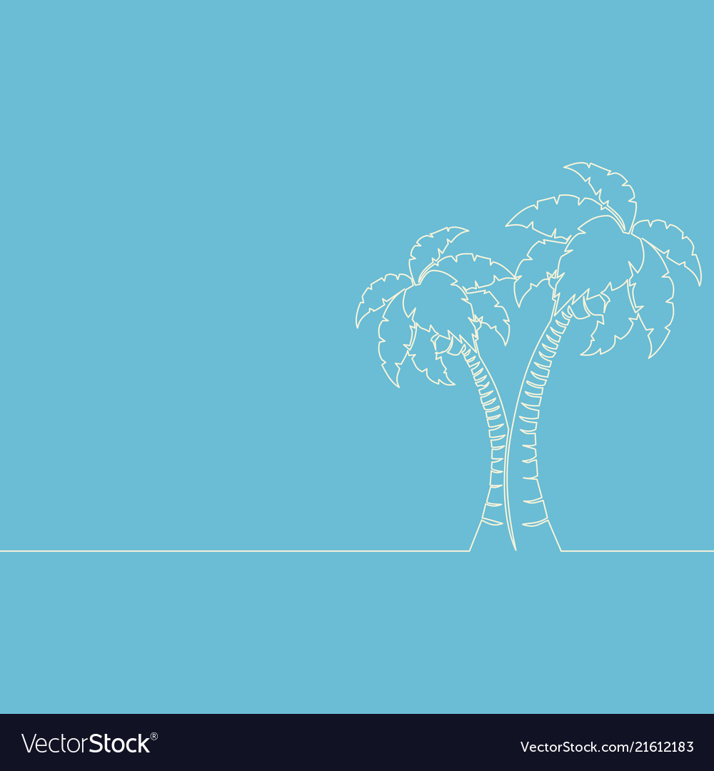 Continuous one line drawing palm tree line