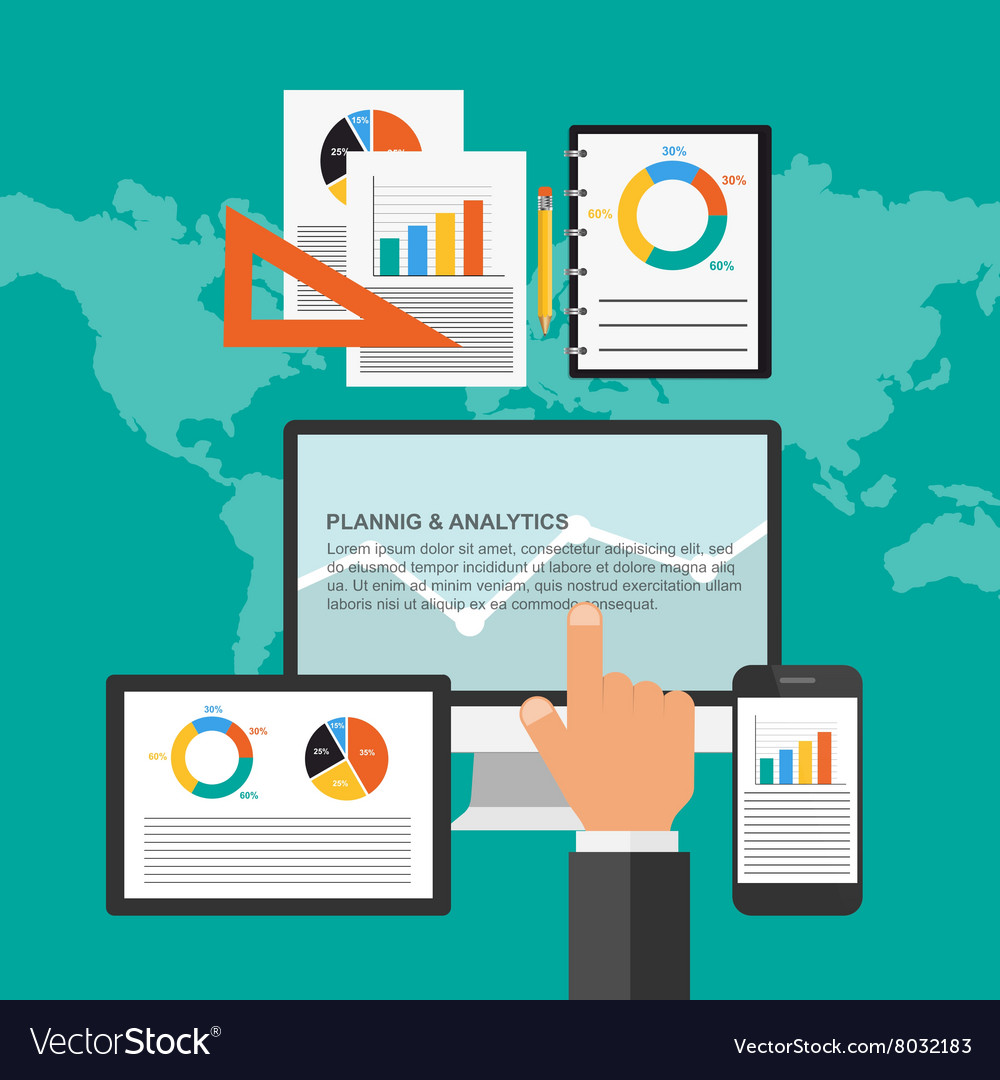 Flat design concept for business planning and