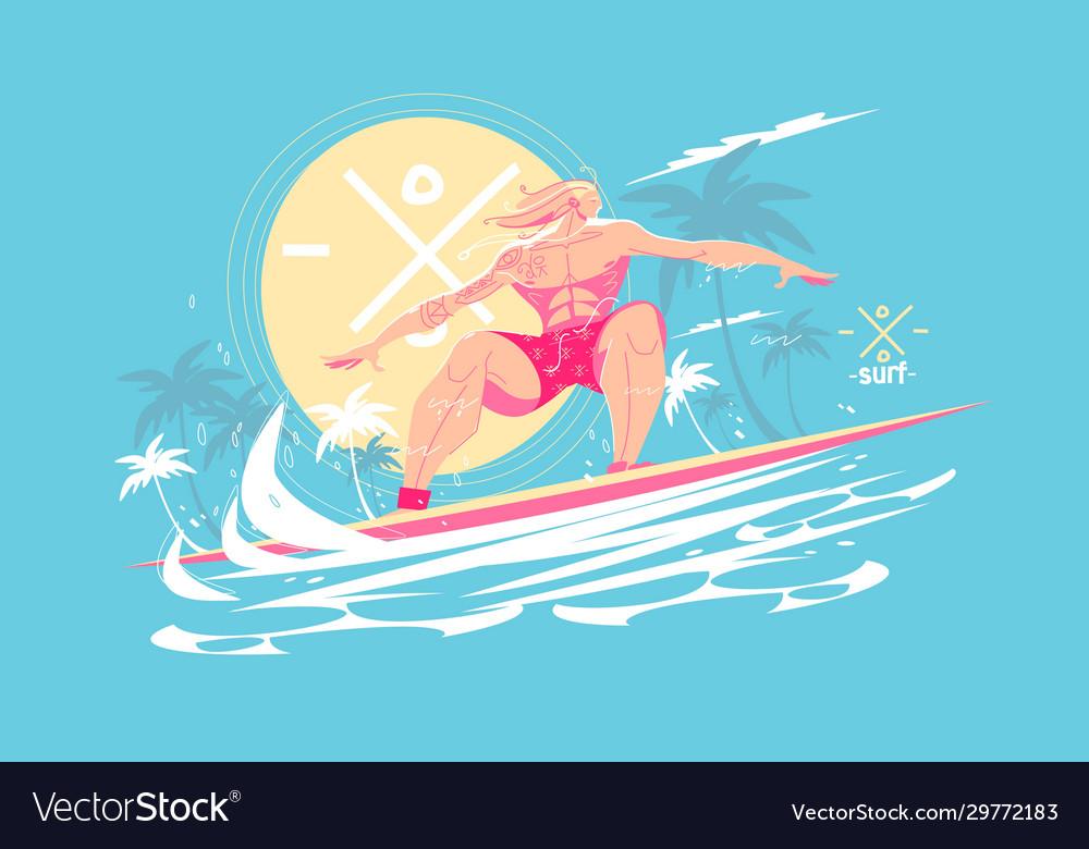 Guy standing on surfboard