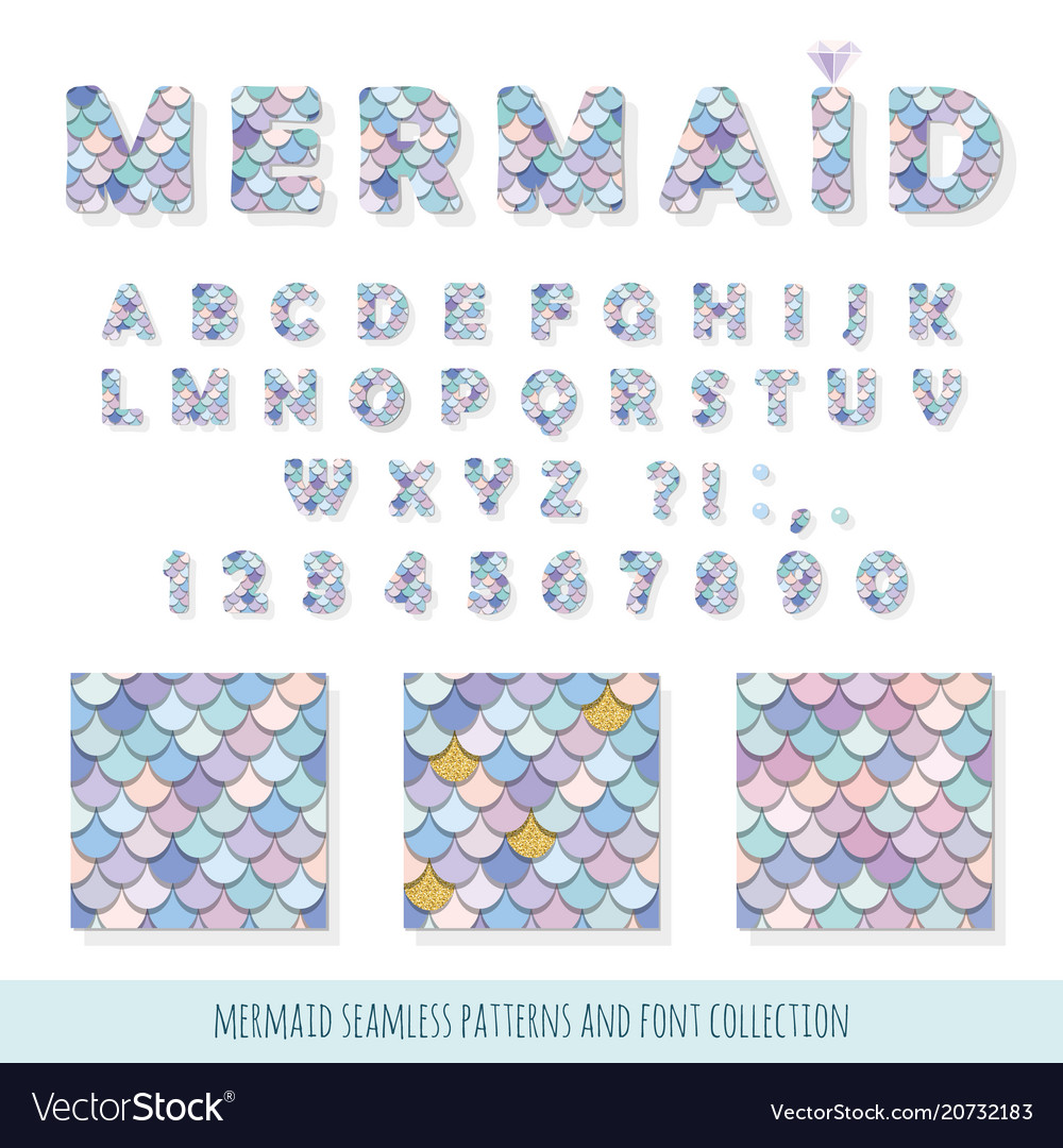 Mermaid font and seamless patterns set for