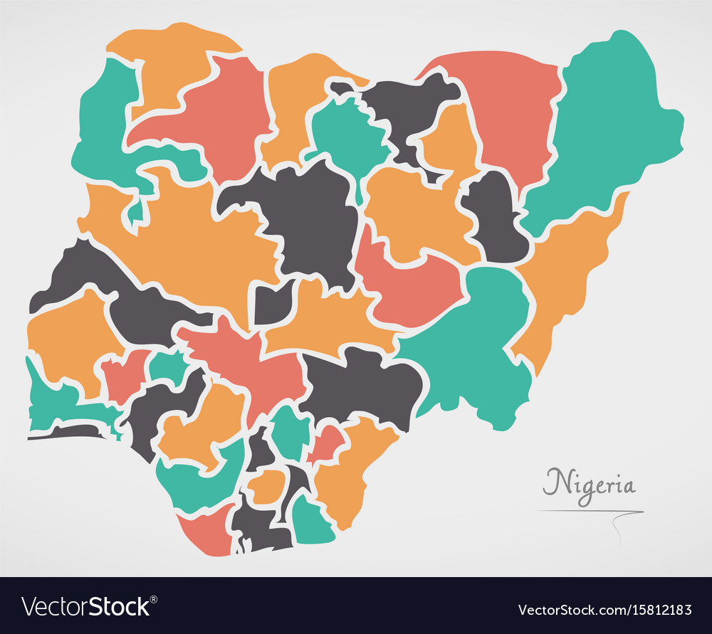 Nigeria map with states and modern round shapes vector image gumiabroncs Image collections