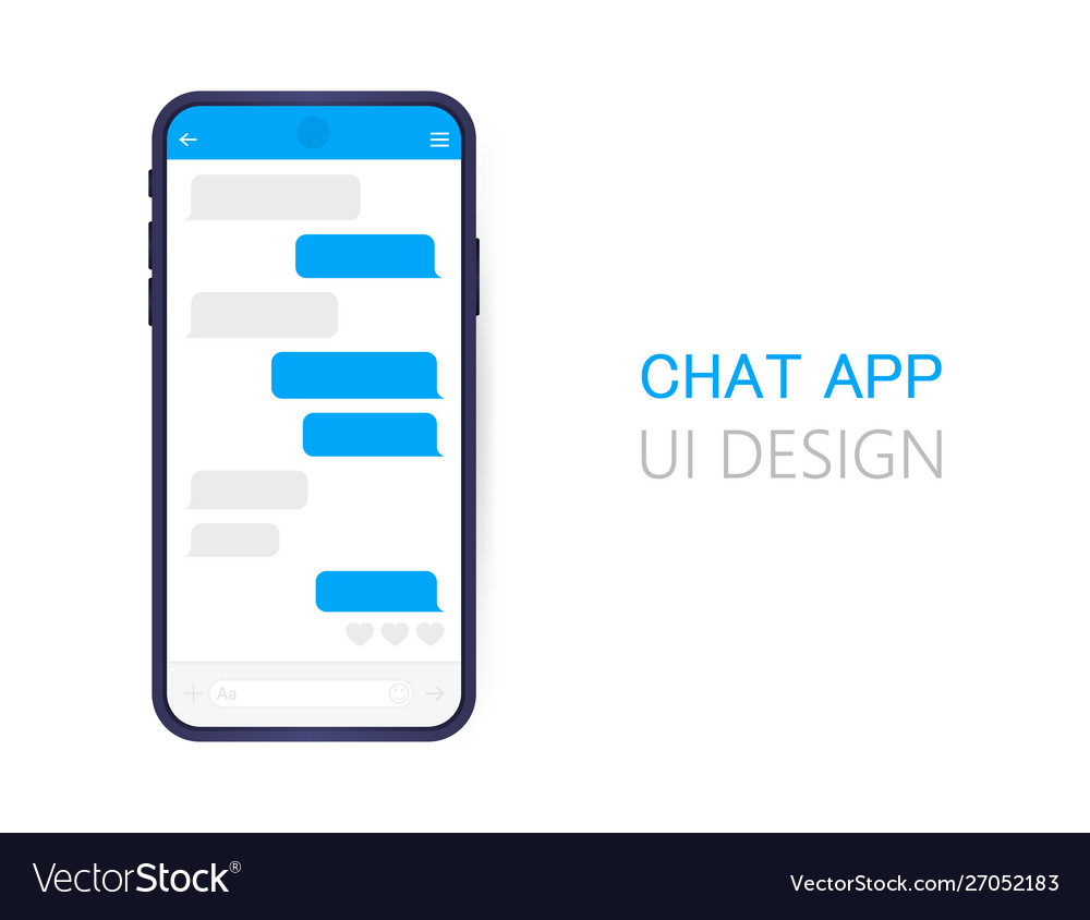 Smart phone with messenger chat screen modern