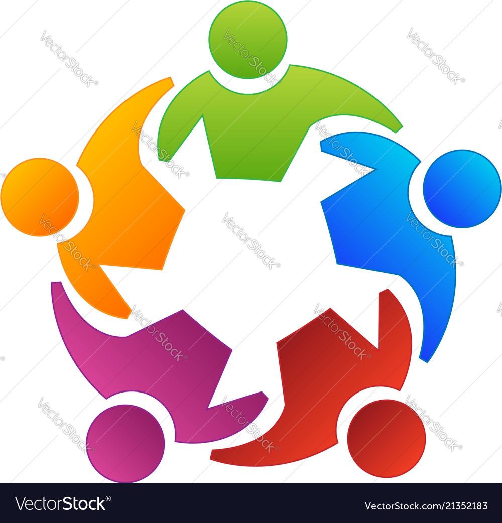 Teamwork group people working together logo Vector Image