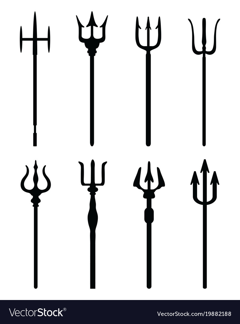 Black silhouettes of tridents